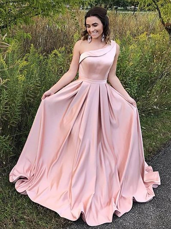 A-Line One-Shoulder Brush Train Pink Prom Dresses