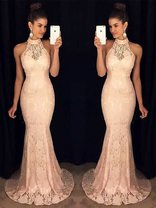 Pink Mermaid High Neck Brush Train Prom Dresses with Ruffles