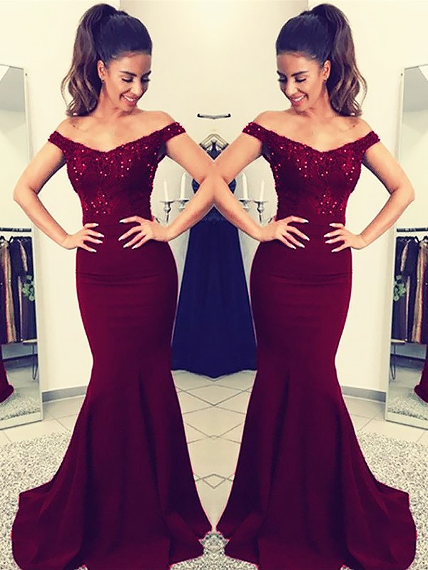 Mermaid Off-the-Shoulder Floor-Length Burgundy Prom Dresses