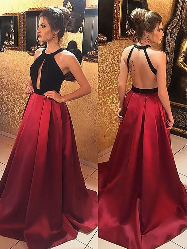 Satin Halter Brush Train Burgundy Prom Dresses