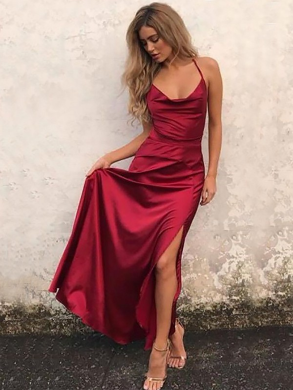 Satin Spaghetti Straps Floor-Length Burgundy Prom Dresses