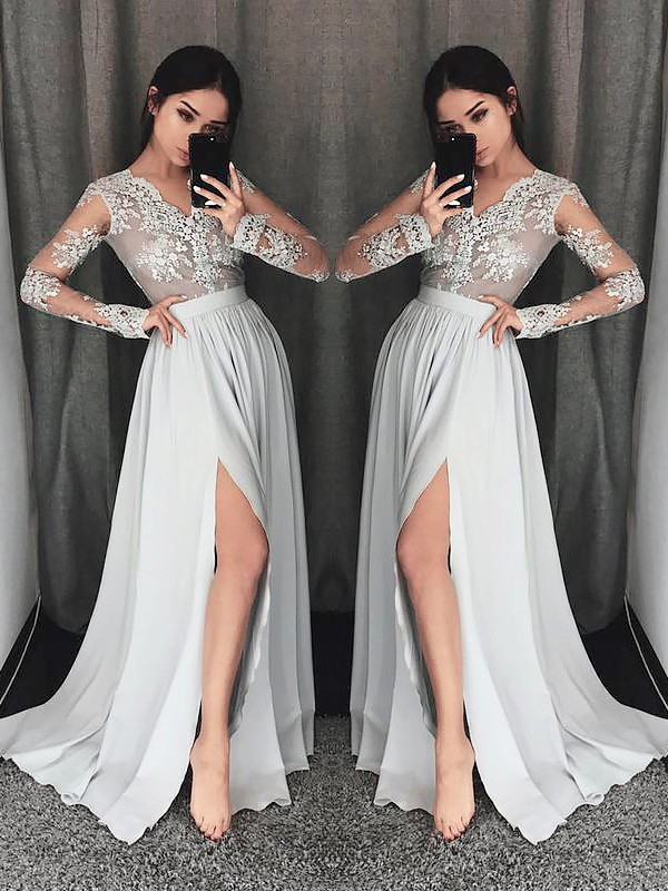 Grey A-Line V-neck Brush Train Prom Dresses with Lace