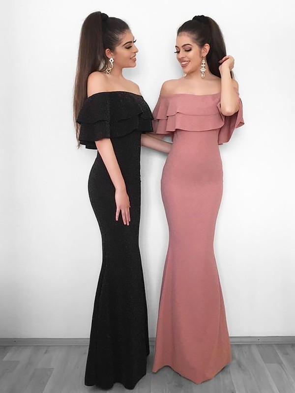 Sheath Off-the-Shoulder Floor-Length Pink Prom Dresses with Ruffles