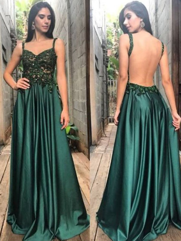 A-Line Straps Floor-Length Dark Green Prom Dresses with Applique