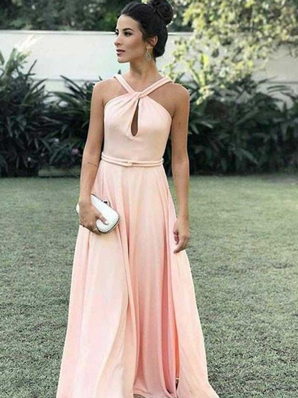 A-Line Chiffon Halter Floor-Length Pearl Pink Prom Dresses