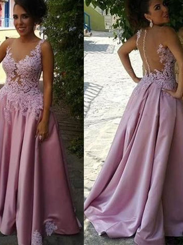 A-Line Sheer Neck Brush Train Pink Prom Dresses