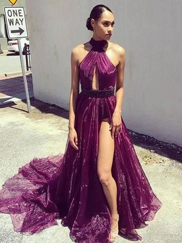 Brush Train Grape Halter Prom Dresses with Ruffles