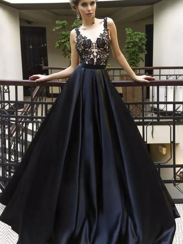 A-Line Sheer Neck Brush Train Black Prom Dresses with Applique