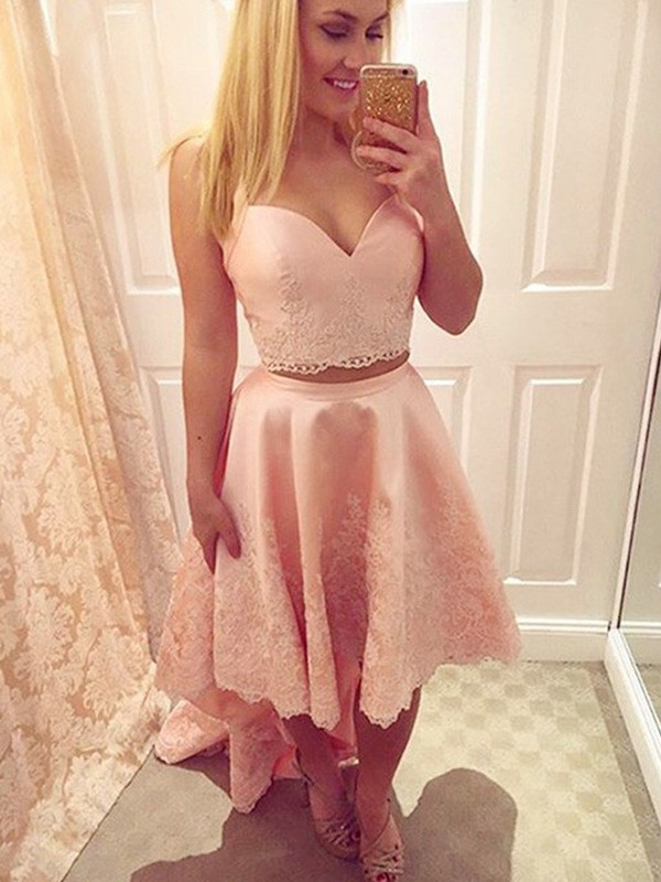 Pink A-Line Straps Asymmetrical Homecoming Dresses with Applique