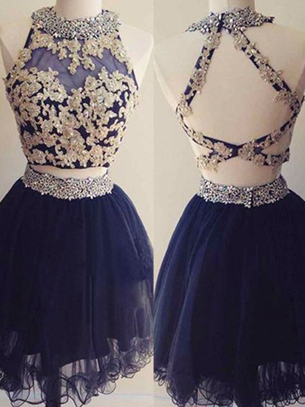 Short Halter A-Line Tulle Dark Navy Homecoming Dresses