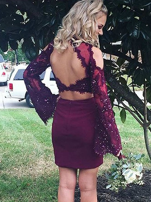 Short Scoop Sheath Long Sleeves Satin Burgundy Homecoming Dresses