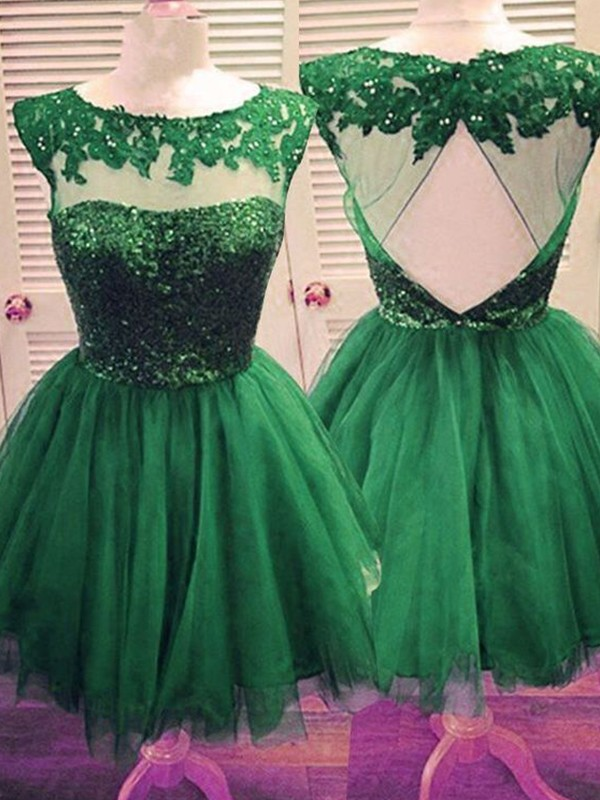 Short Bateau A-Line Tulle Green Homecoming Dresses