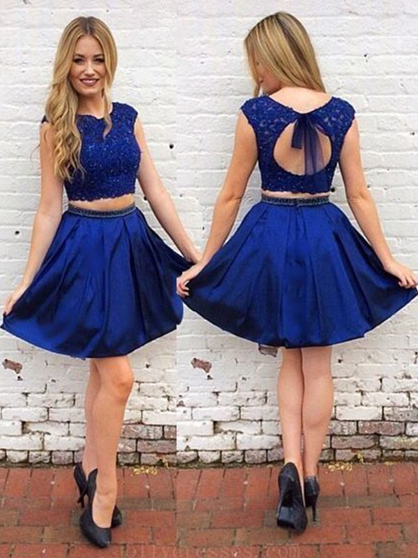 Short Scoop A-Line Satin Royal Blue Homecoming Dresses