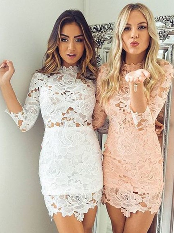 Short High Neck Sheath 3/4 Sleeves Lace White Homecoming Dresses