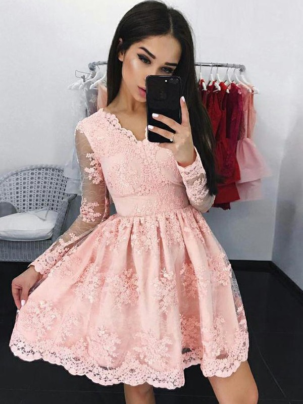 Pink Short Lace Long Sleeves Homecoming Dresses