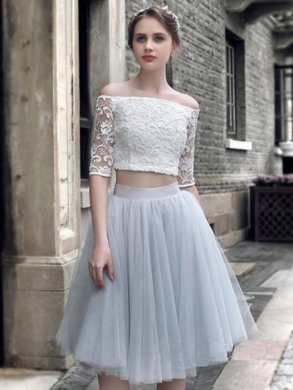 Light Sky Blue Knee-Length Tulle 1/2 Sleeves Homecoming Dresses