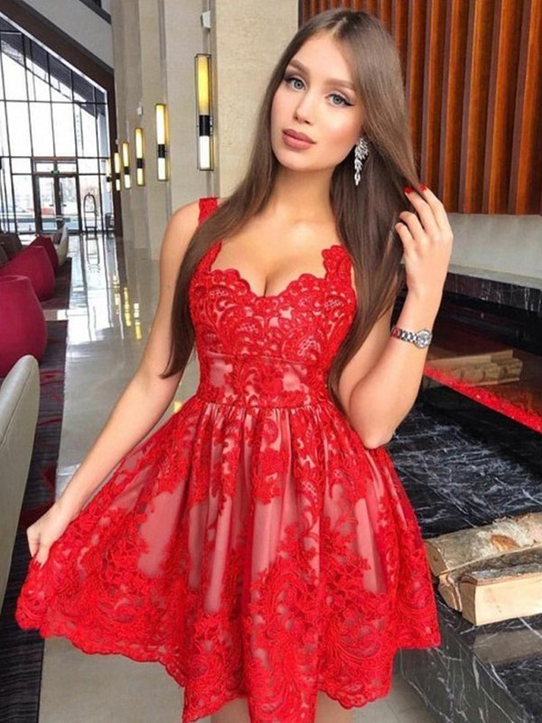 Red Short Lace Straps Homecoming Dresses