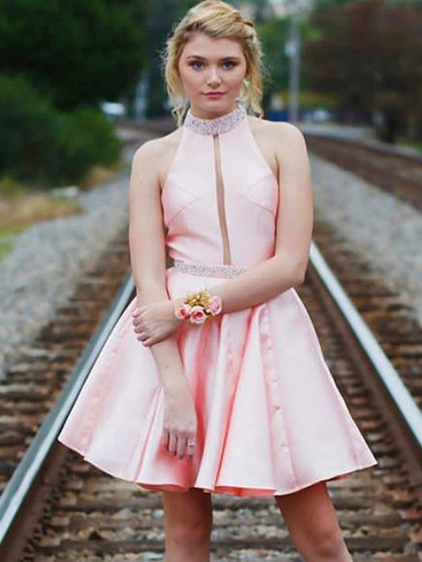 Pink High Neck Short Satin Homecoming Dresses
