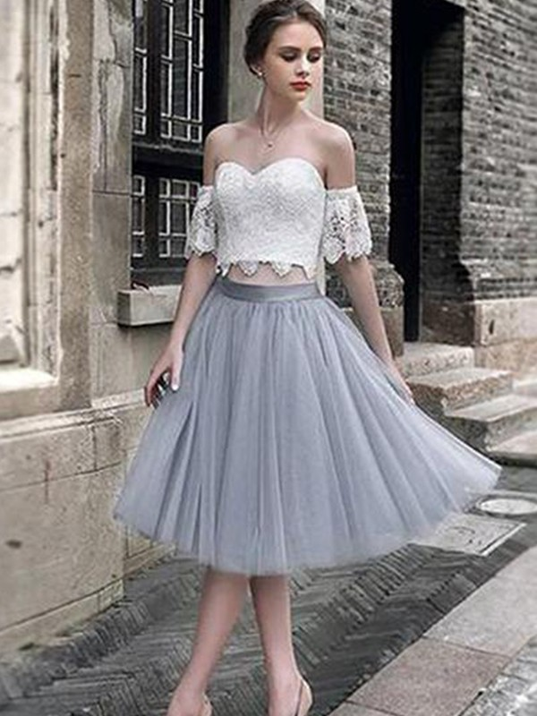 Grey Tea-Length Tulle Homecoming Dresses