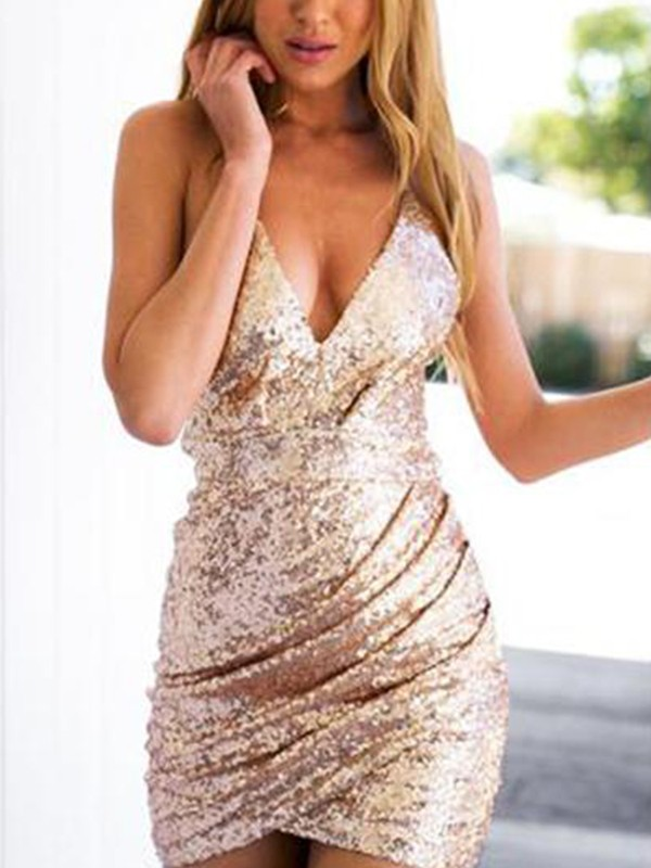 Pink Short Sequins Homecoming Dresses