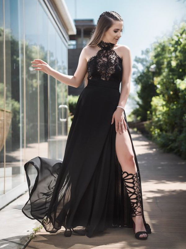 Sleeveless Black Floor-Length Lace Chiffon Prom Dresses