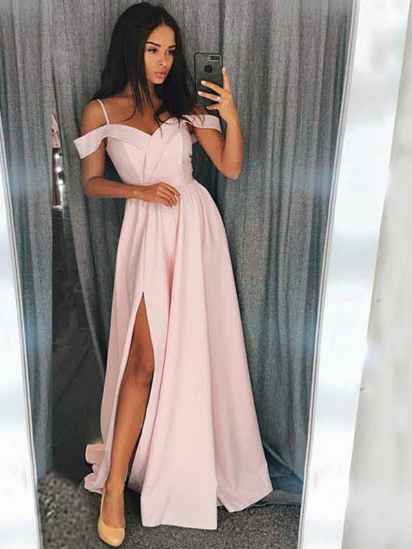 A-Line Pink Brush Train Off-the-Shoulder Satin Prom Dresses