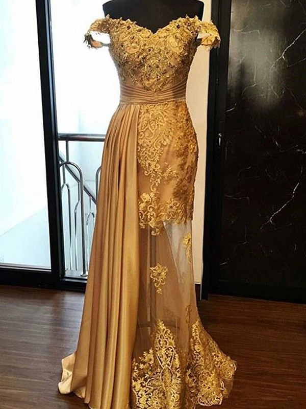 Sheath Gold Brush Train Applique Tulle Prom Dresses