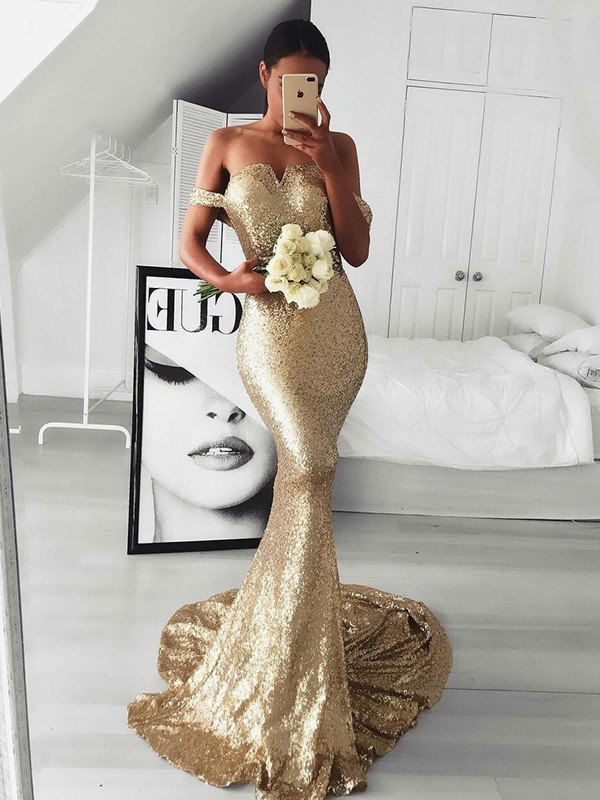 Mermaid Gold Brush Train Ruffles Sequins Prom Dresses