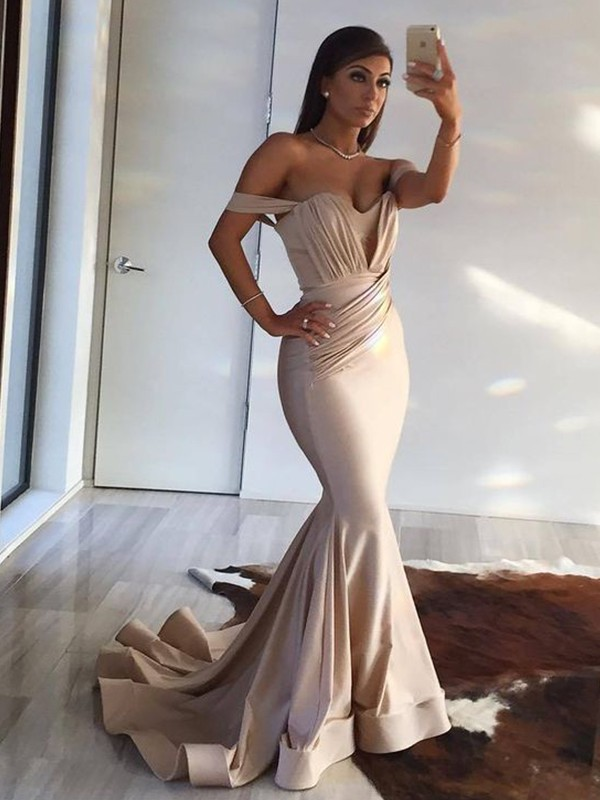 Mermaid Off-the-Shoulder Brush Train Ivory Spandex Prom Dresses