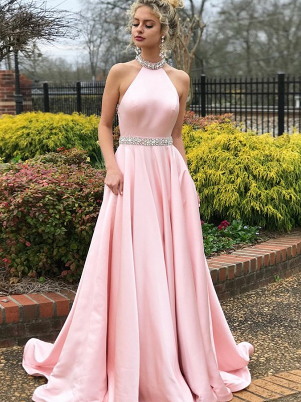 Pink A-Line Halter Beading Satin Prom Dresses