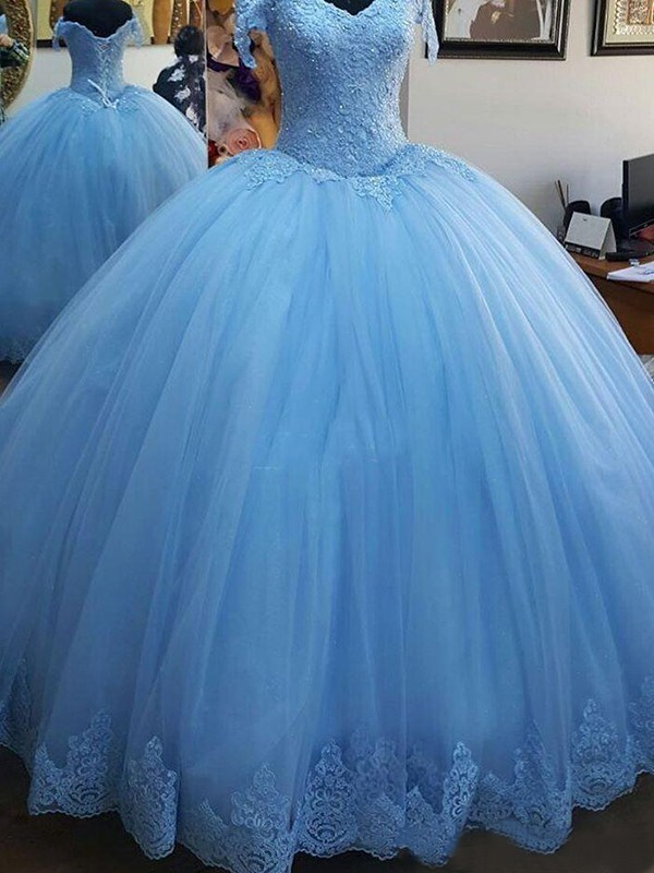 Ball Gown Blue Brush Train Lace Tulle Prom Dresses