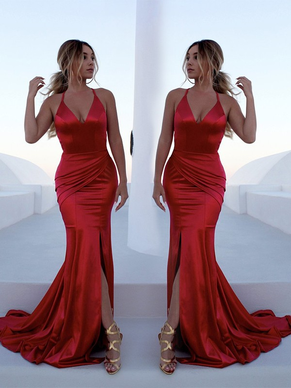 Mermaid Halter Brush Train Red Satin Prom Dresses