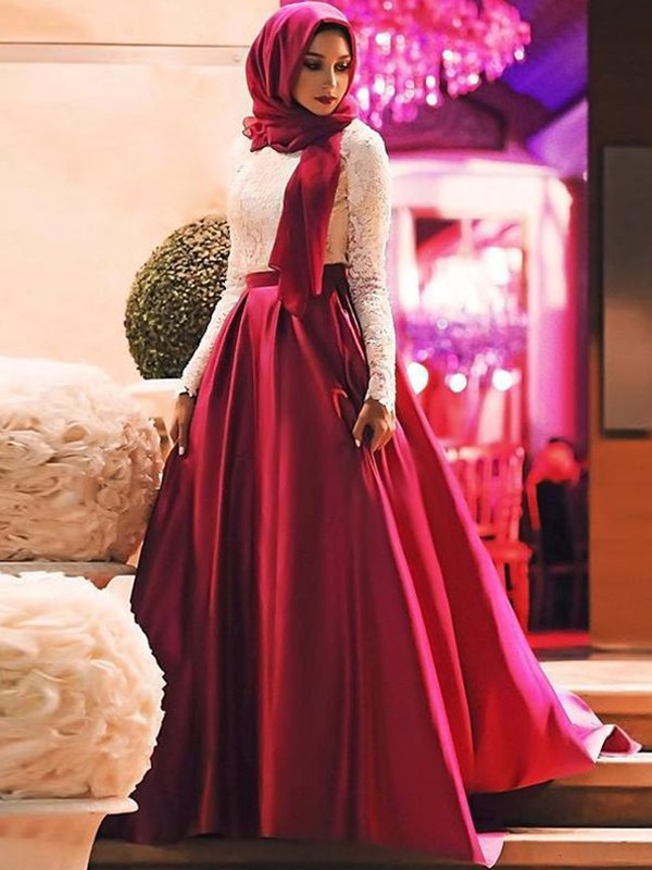 Sheath Long Sleeves Long Burgundy Lace Satin Muslim Prom Dresses