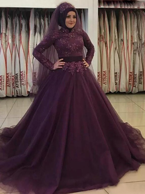 Ball Gown Long Grape Sleeves High Neck Long Tulle Muslim Prom Dresses