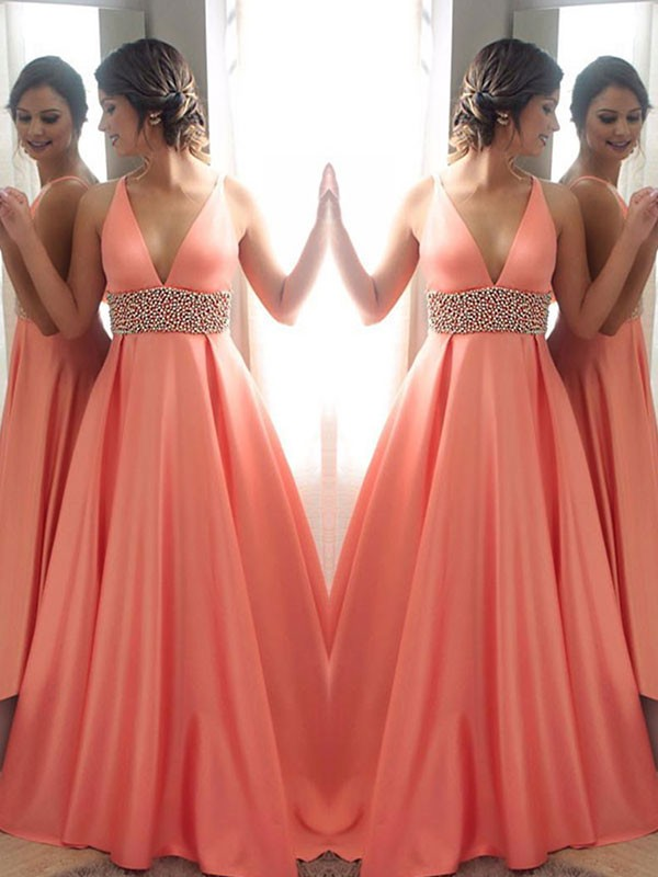 A-Line V-neck Watermelon Brush Train Beading Satin Prom Dresses
