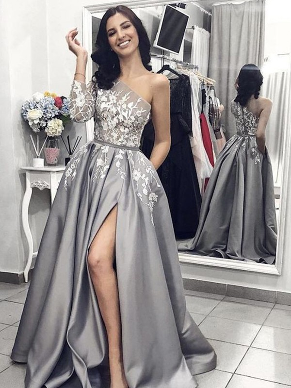 A-Line One-Shoulder Brush Train Grey Satin Prom Dresses
