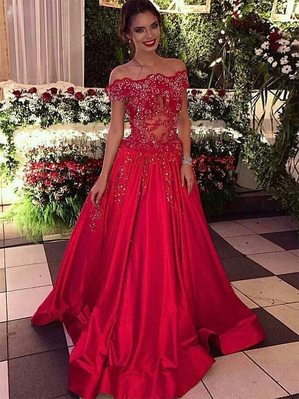Ball Gown Off-the-Shoulder Sleeveless Sweep/Brush Train Beading Satin Dresses