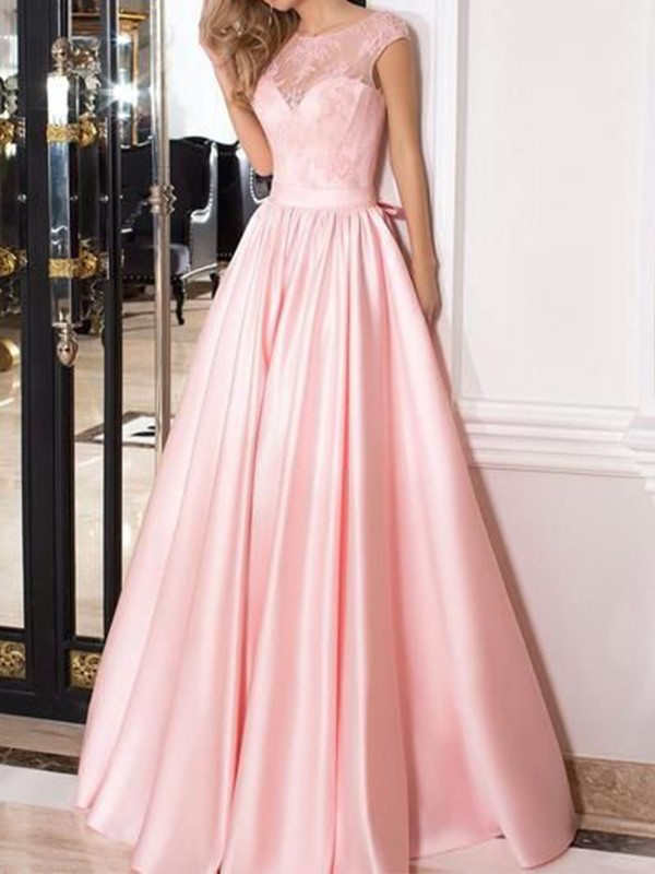 A-Line/Princess Sleeveless Sheer Neck Floor-Length Lace Satin Dresses