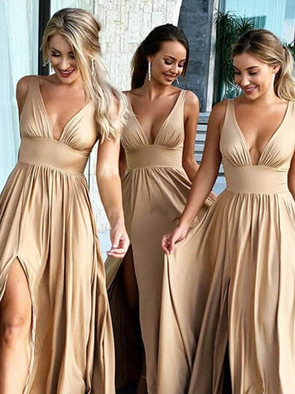A-Line/Princess Sleeveless V-neck Sweep/Brush Train Ruffles Silk like Satin Bridesmaid Dresses