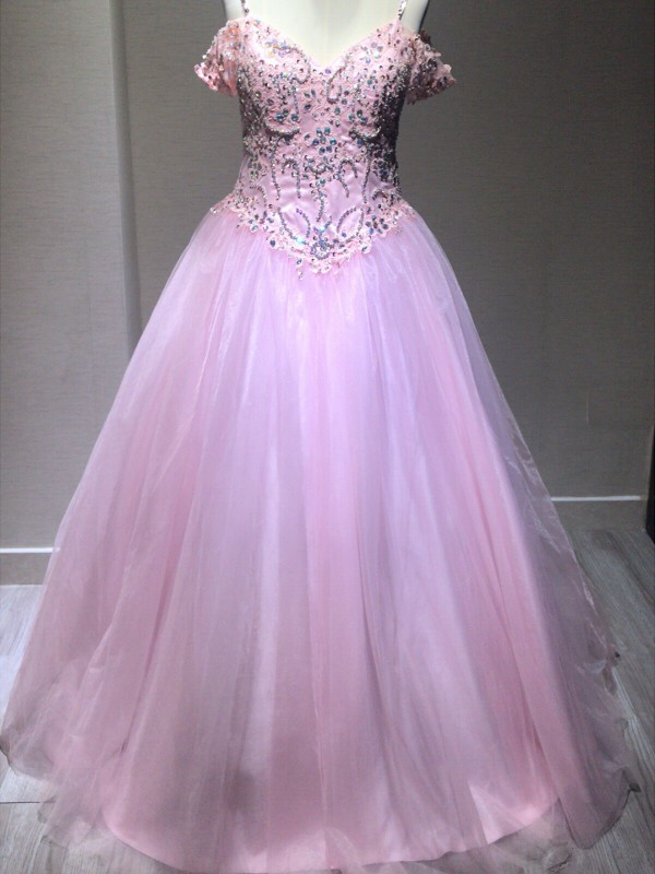 Ball Gown Tulle Spaghetti Straps Floor-Length Prom Dresses with Crystal