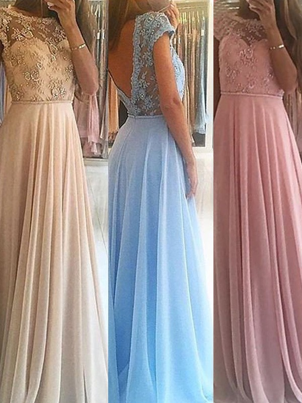 Chiffon A-Line Floor-Length Scoop Pink Prom Dresses