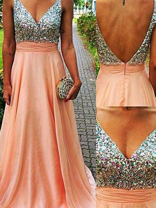 A-Line V-neck Brush Train Orange Prom Dresses