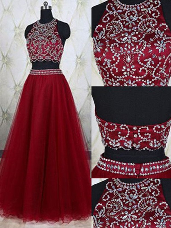 Floor-Length Red Jewel Prom Dresses with Beading