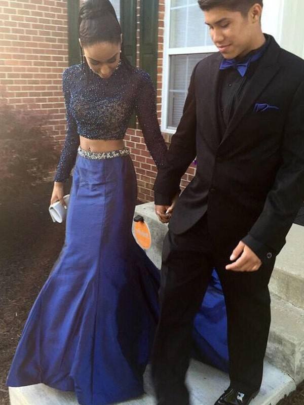 Satin Long Sleeves High Neck Court Train Royal Blue Prom Dresses