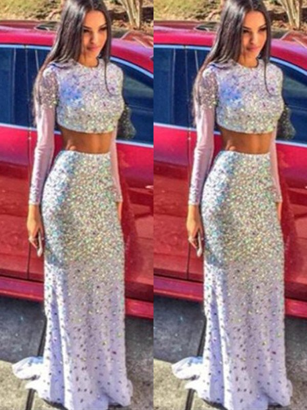 Mermaid Chiffon Long Sleeves Scoop Brush Train Prom Dresses with Sequin