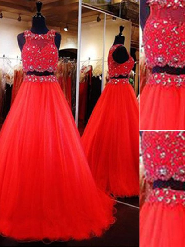 Scoop Floor-Length Red Prom Dresses with Beading