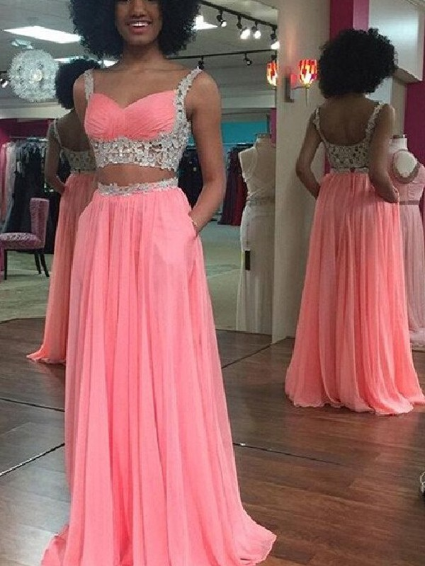 A-Line Straps Floor-Length Watermelon Prom Dresses