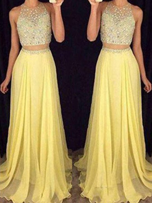 Chiffon Scoop Floor-Length Daffodil Prom Dresses