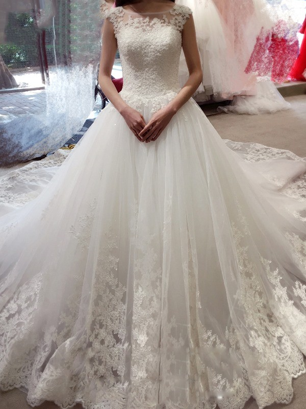 Ball Gown Bateau Court Train White Wedding Dresses with Applique