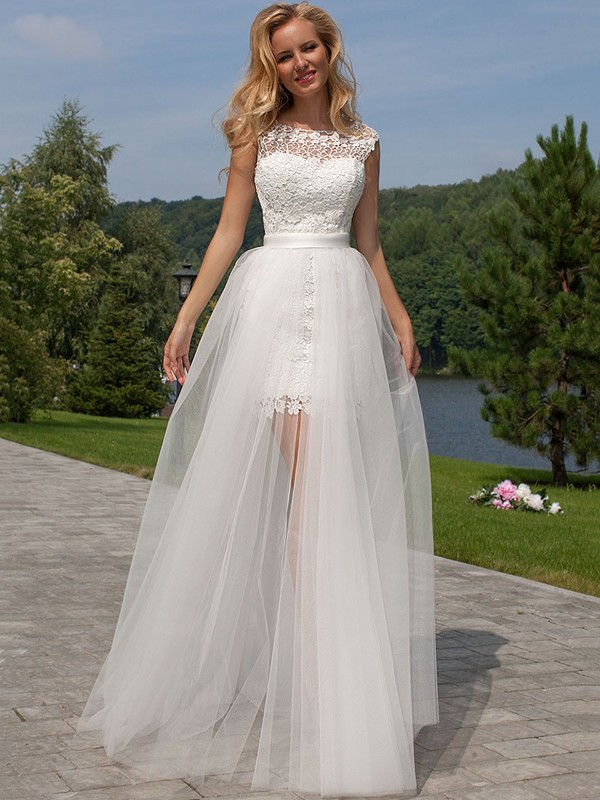 Tulle Scoop Floor-Length White Wedding Dresses